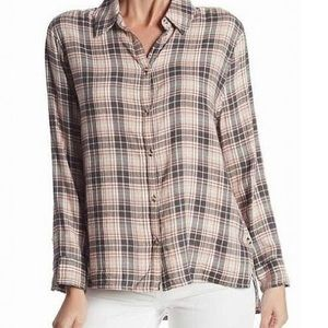 Pink and gray flannel button up